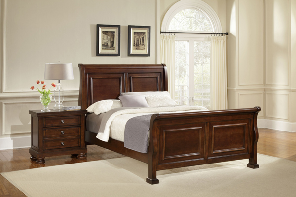 Reflections Sleigh Bedroom Set Dark Cherry Finish
