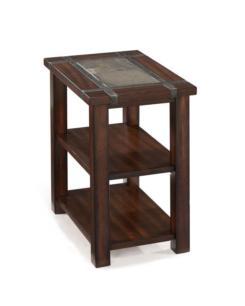 Roanoke Rectangular Chair Side End Table (Cherry & Slate) - [T2615-10]