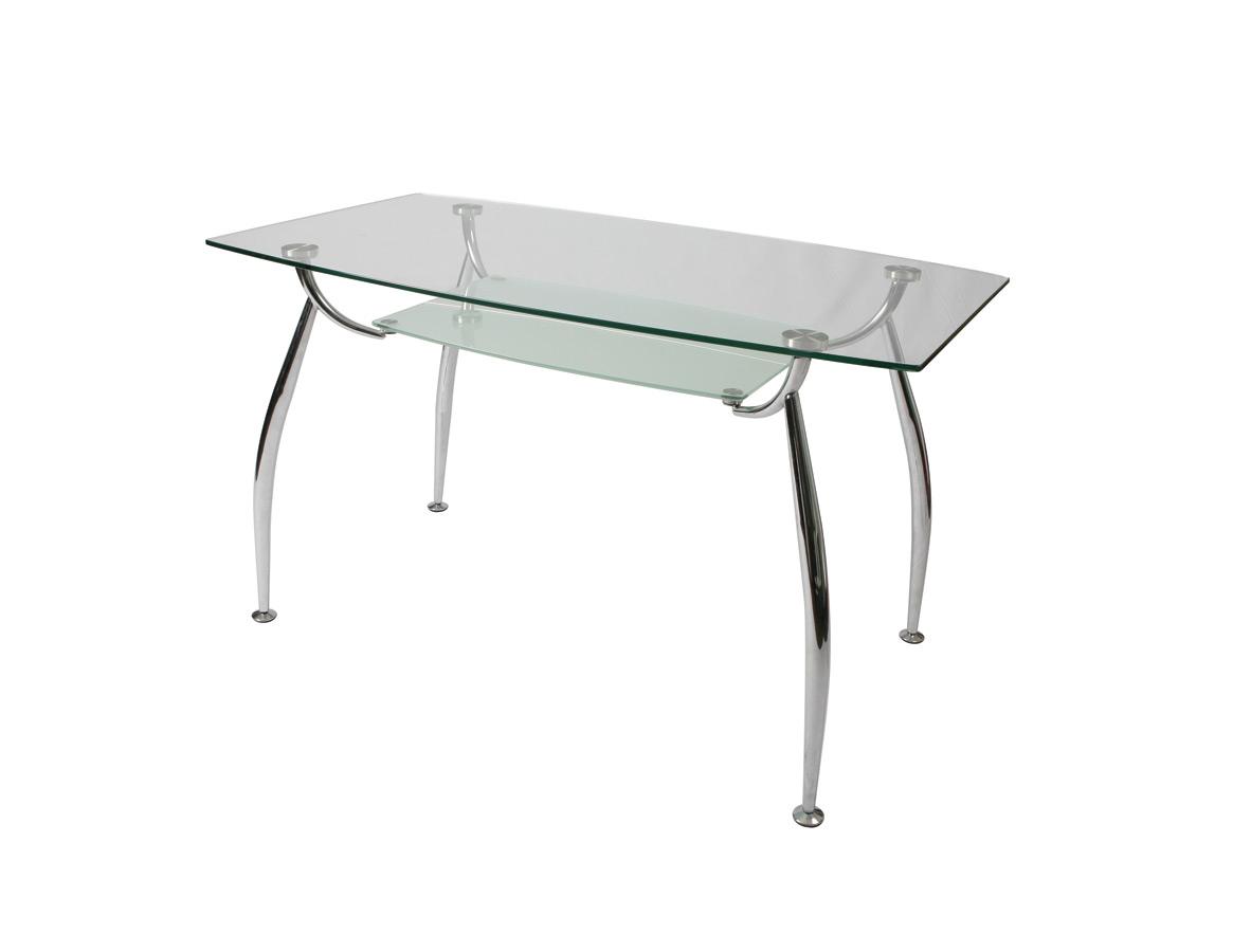 Roman dining table chrome glass finish decor south for Glass and chrome dining table