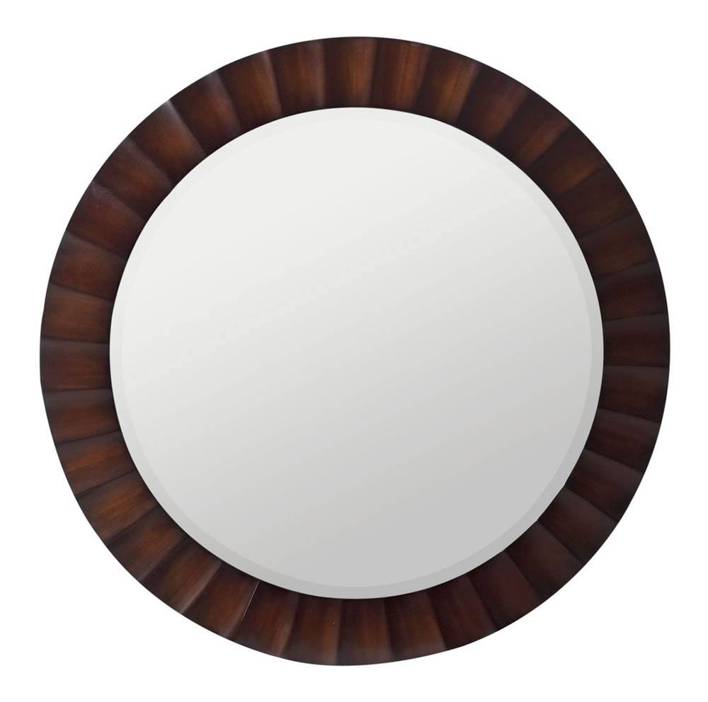 Savona Round Mirror Washed Brown With Dark Brown