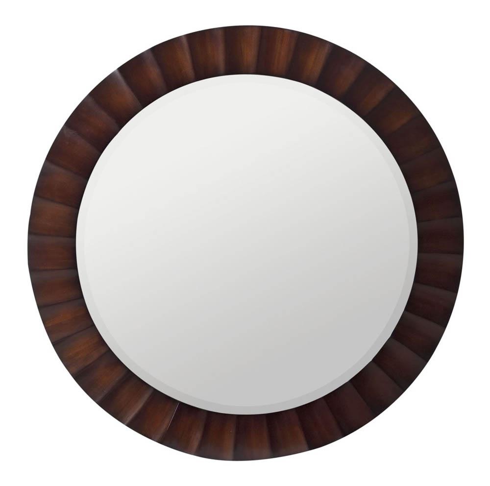 Savona Round Mirror Washed Brown With Dark Brown