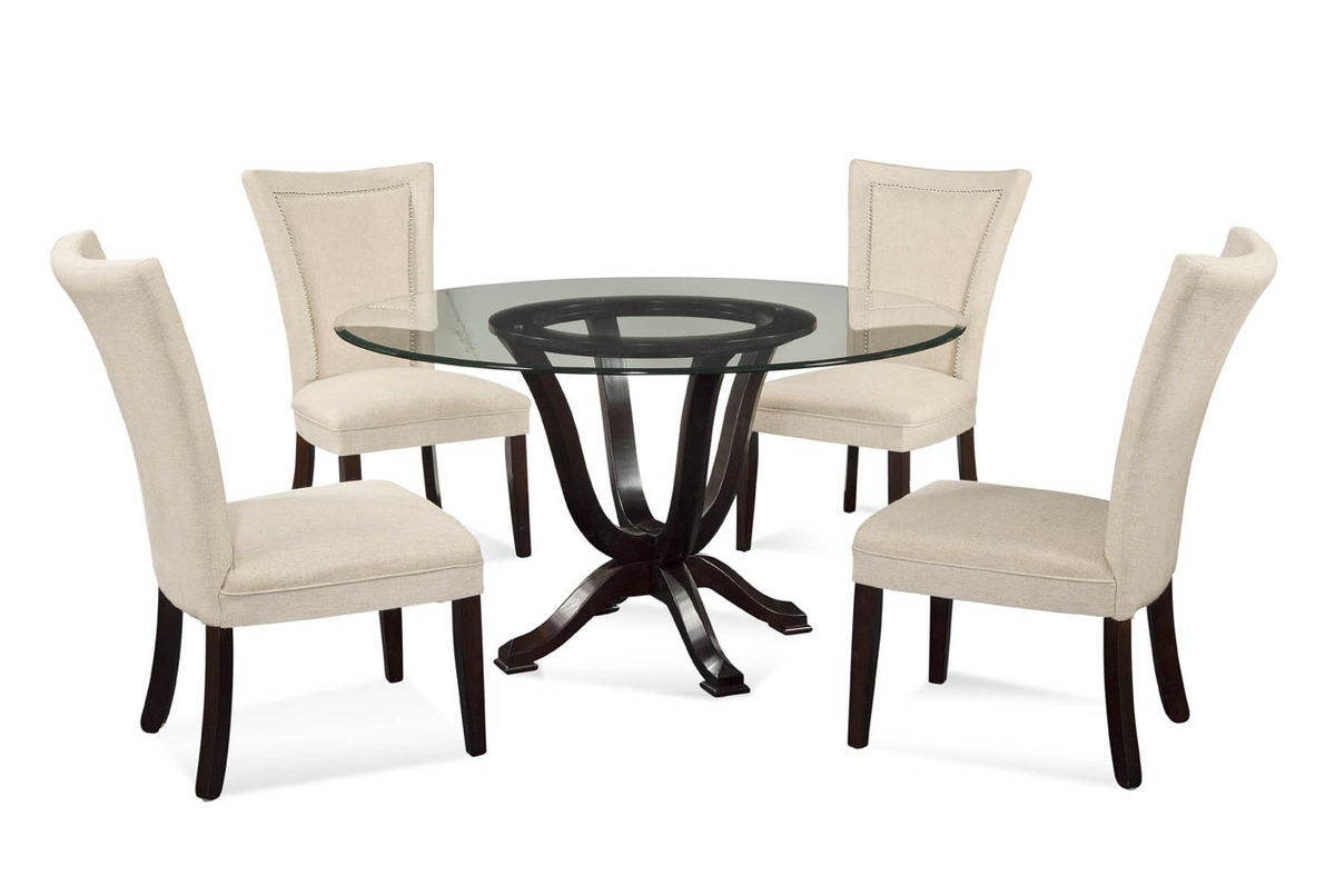 Serenity Dining Set With Natural Linen Chairs Tobacco