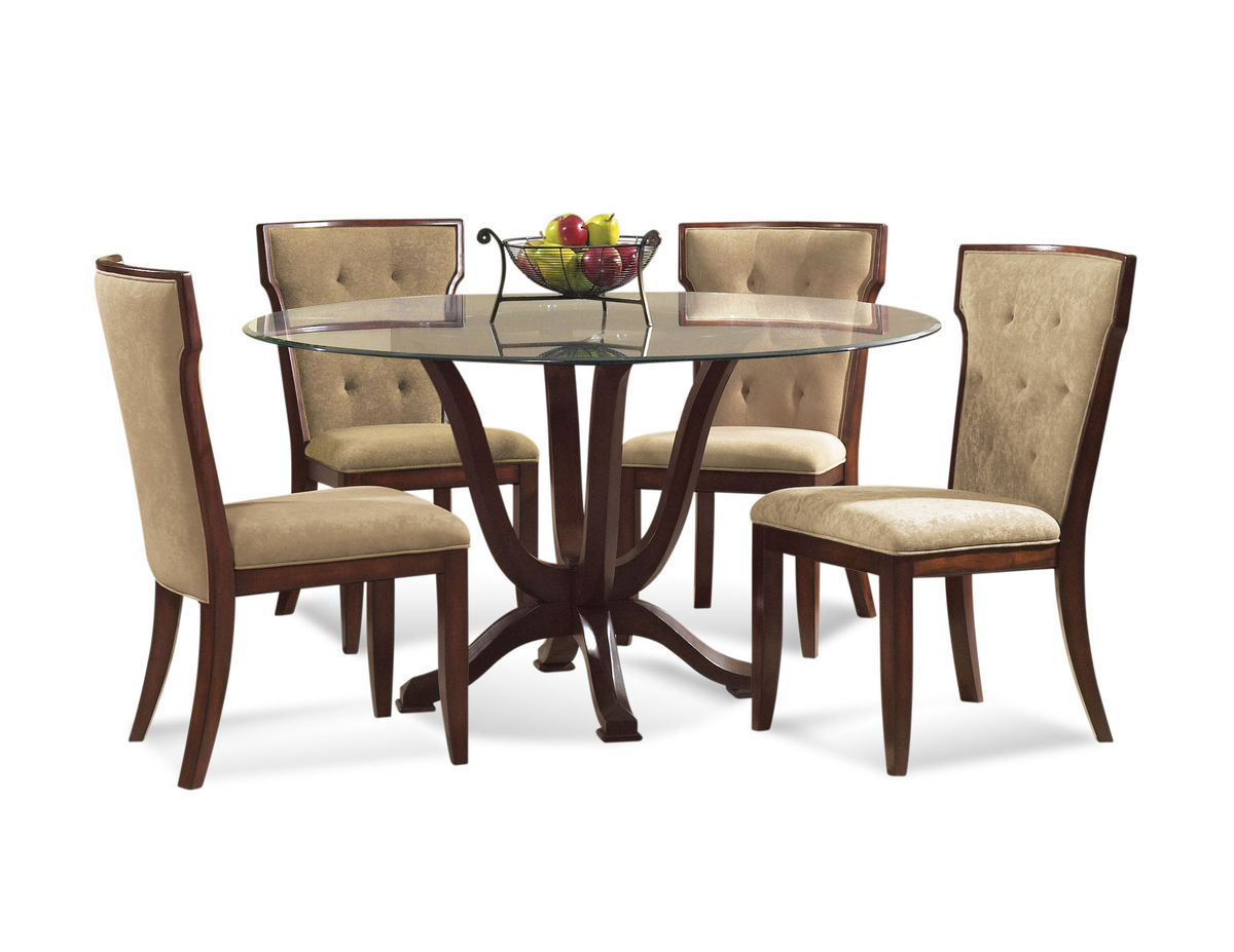 Serenity Dining Set With Tufted Back Chairs Tobacco Finish D1711 000 AAB