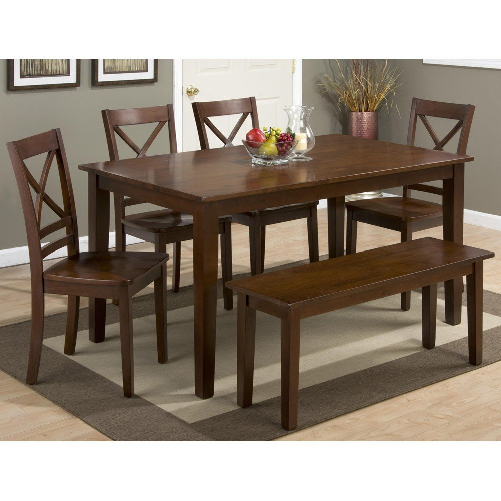 Dining Table With Chairs And Bench: Simplicity Rectangle 7 Piece Dining Set With X Back Side