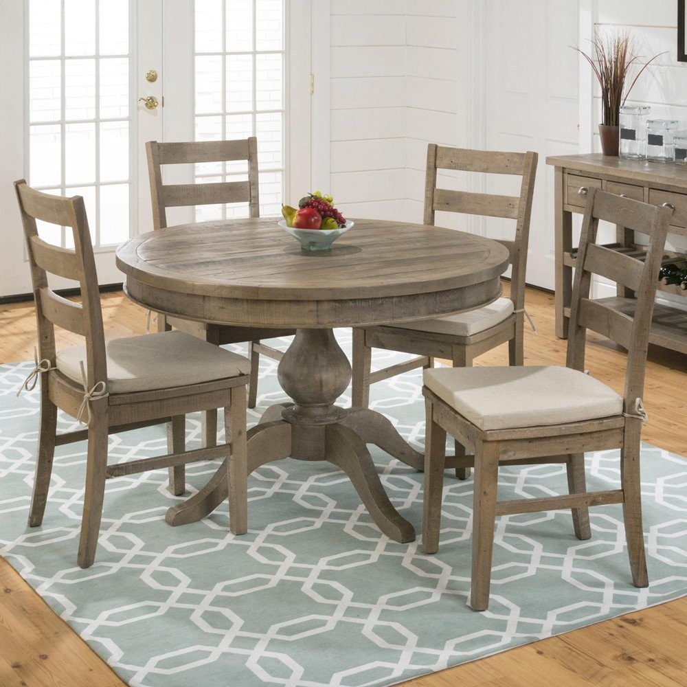 Slater Mill Pine Reclaimed Pine Round to Oval 5 Piece Dining Set - [941-66B+941-66T+4x941-538KD+CUSHION-941] & Slater Mill Pine Reclaimed Pine Round to Oval 5 Piece Dining Set ...