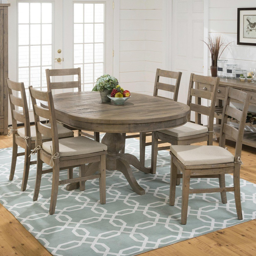 Slater mill pine reclaimed pine round to oval 7 piece for Decor 7 piece lunch set