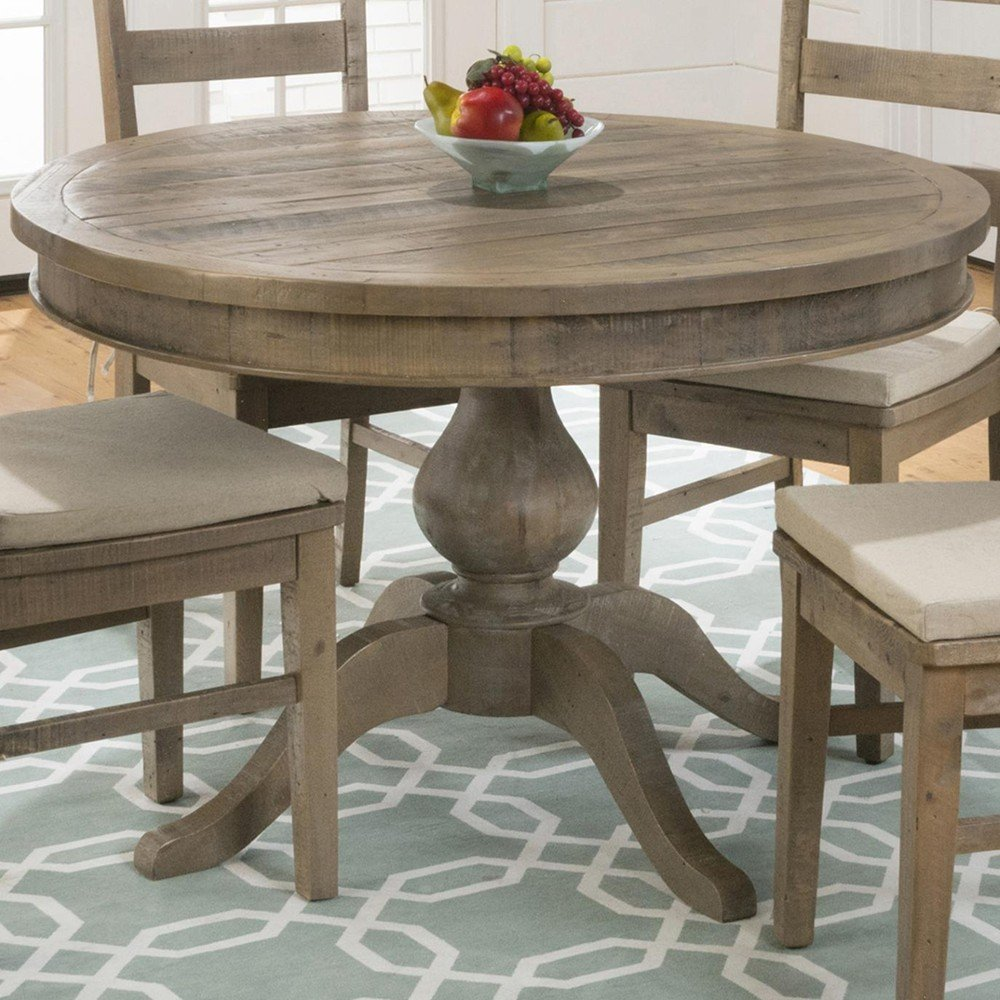 Slater mill pine reclaimed pine round to oval dining table 941 66b 941 66t