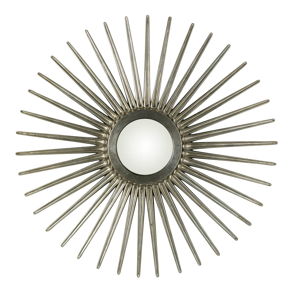 Sunburst mirror antique silver 55 round 4538 for Sunburst mirror