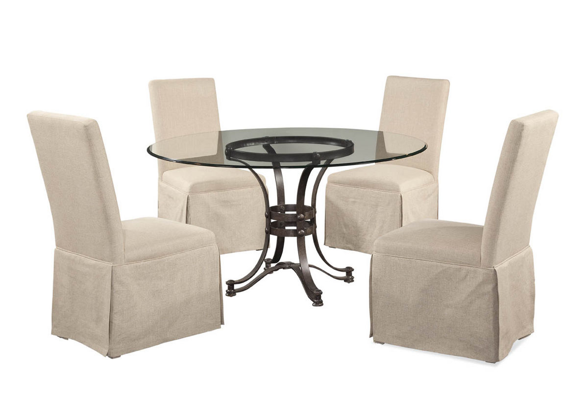 Tempe dining set with parsons chairs rustic bronze finish d2660 000 aaa
