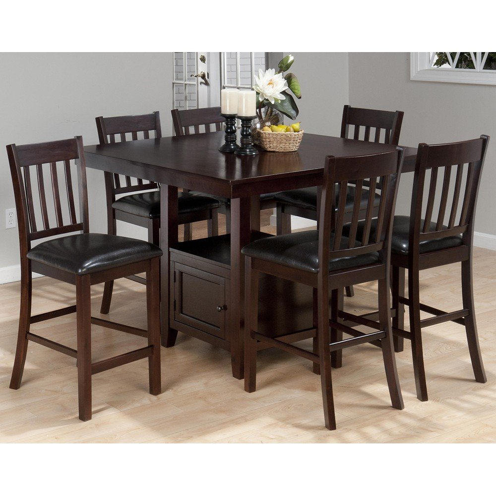 Tessa chianti casual square counter height 7 piece dining for Square dinette sets