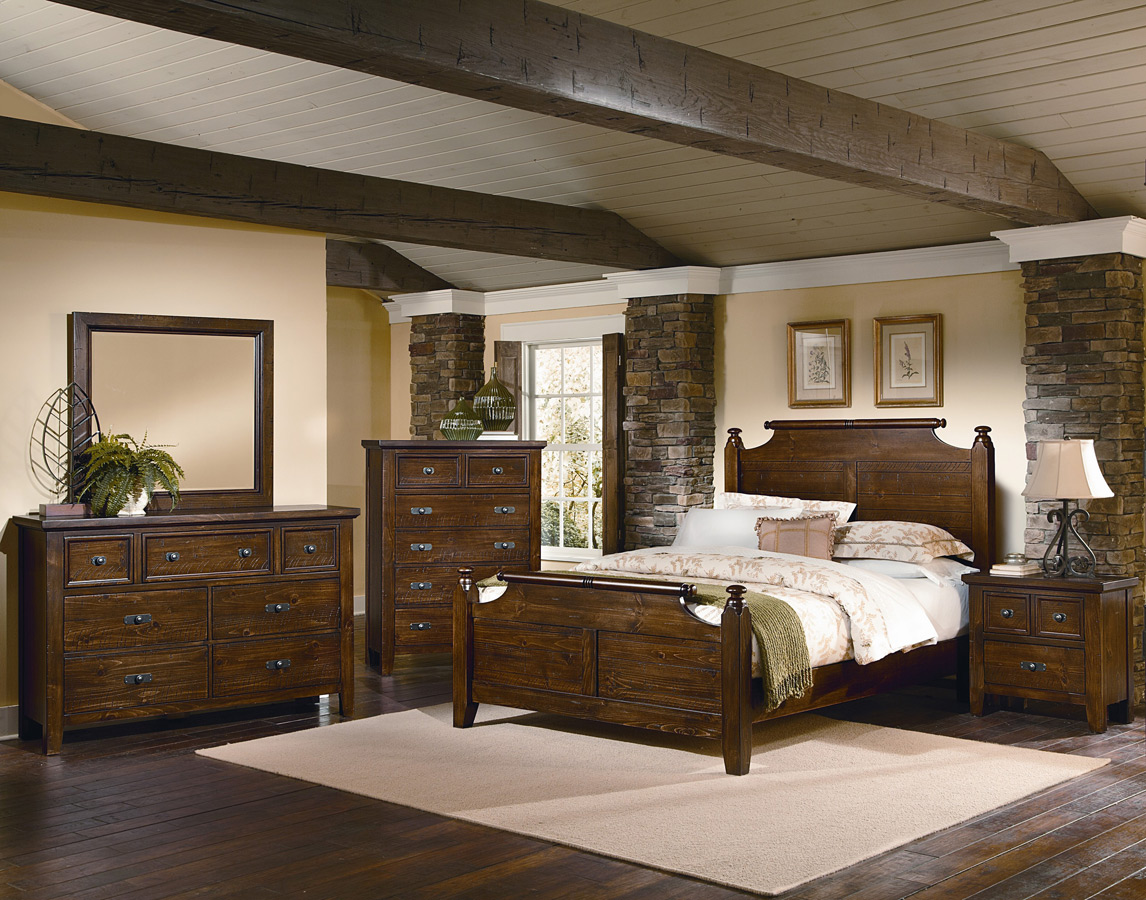 timber mill broomhandle bedroom set pine finish bb58 557 decor
