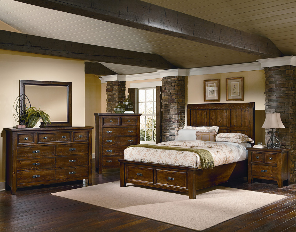 Timber Mill Storage Bedroom Set Pine Finish BB58 557 Decor
