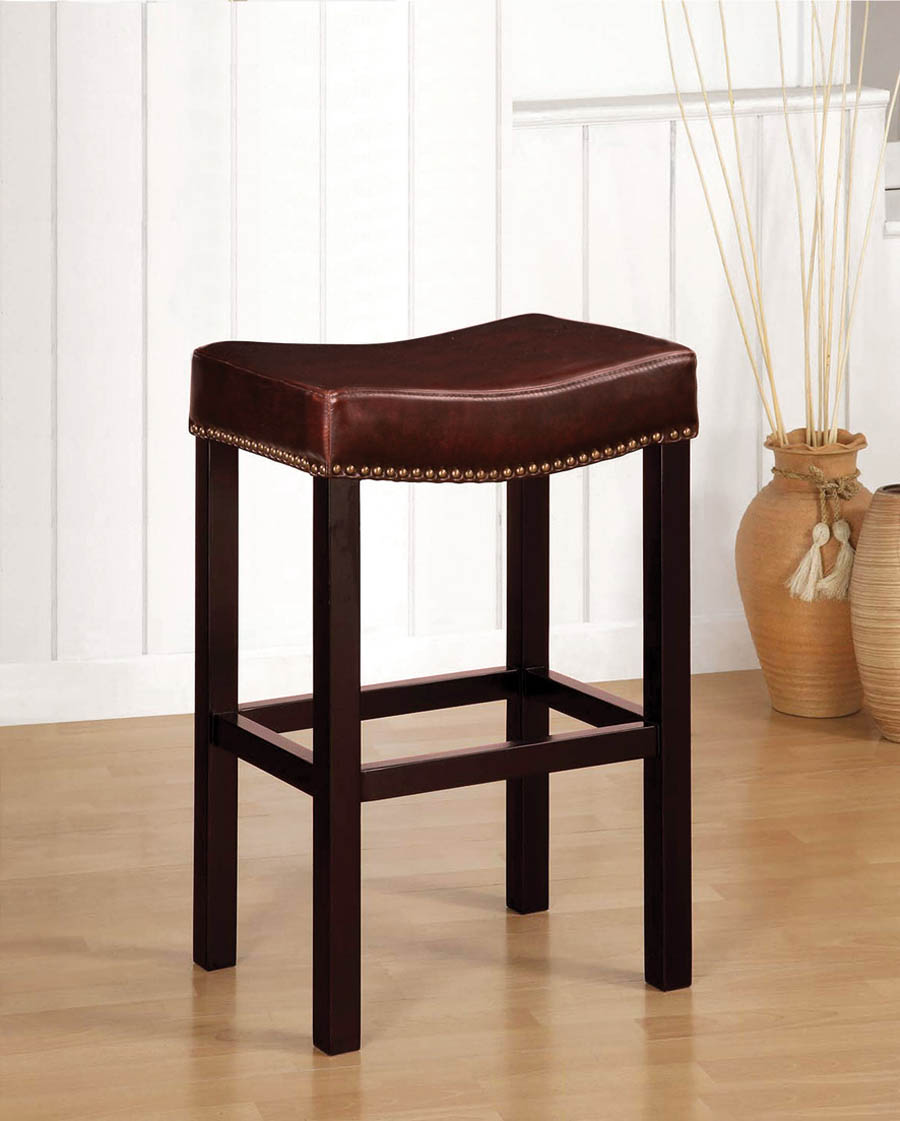 Tudor Backless Counter Stool Antique Brown Leather