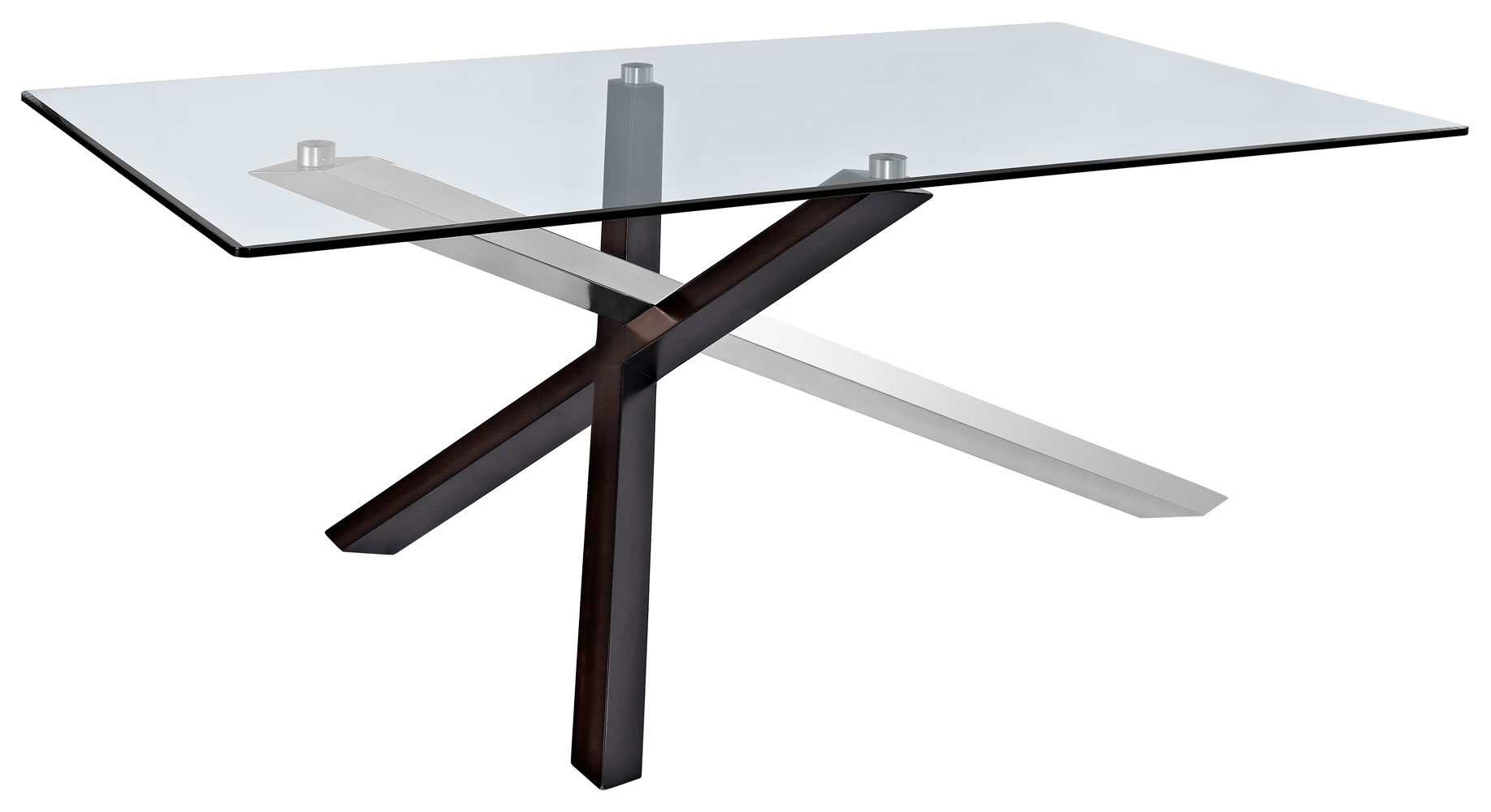 Verge Rectangular Dining Table Deep Espresso Stainless Steel