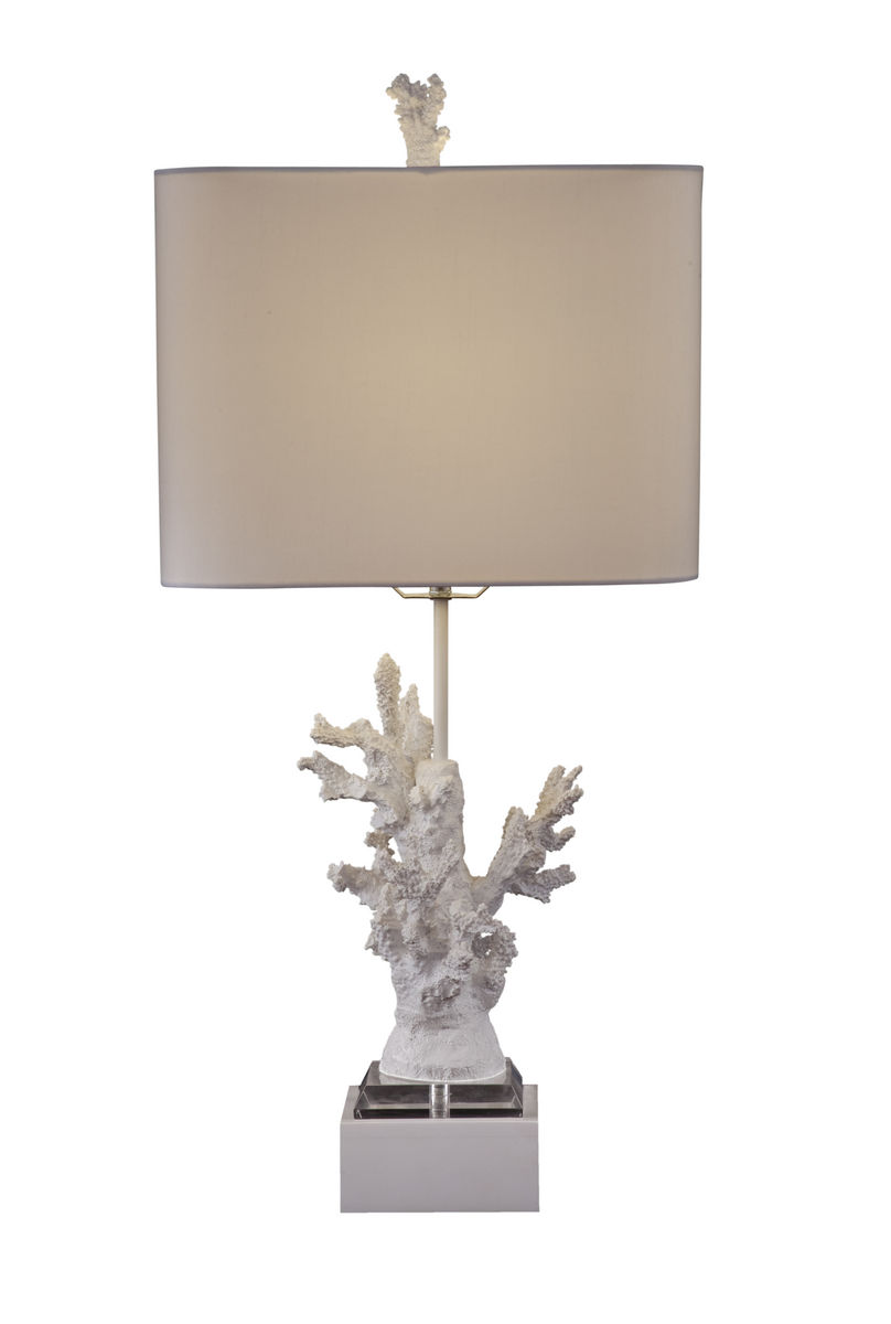 white coral table lamp high gloss white finish l2667tec decor. Black Bedroom Furniture Sets. Home Design Ideas