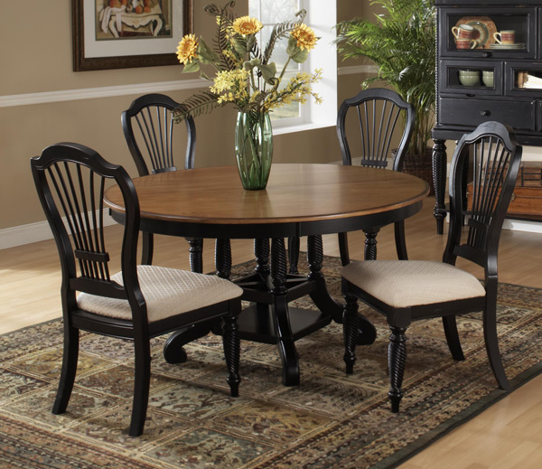Wilshire dining table rubbed black finish decor south for Black dining table decor