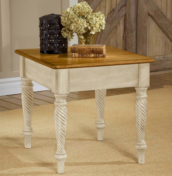 Wilshire End Table Antique White Finish 4508 882