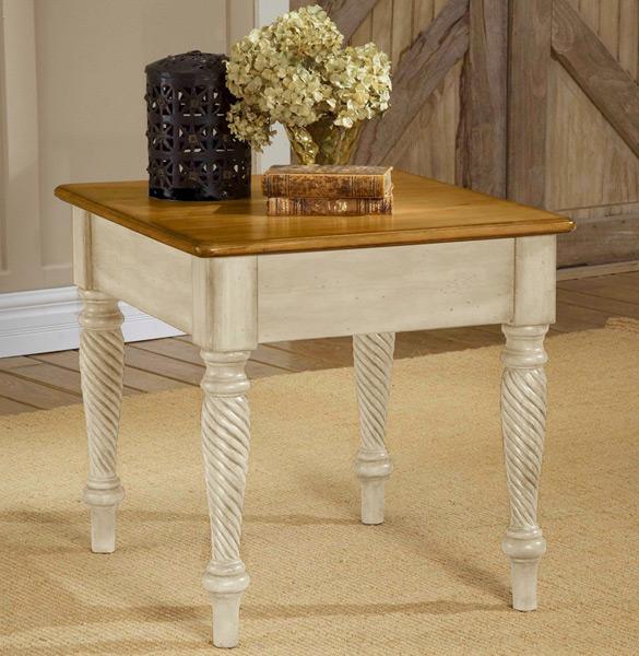 Beau Wilshire End Table (Antique White Finish)   [4508 882]