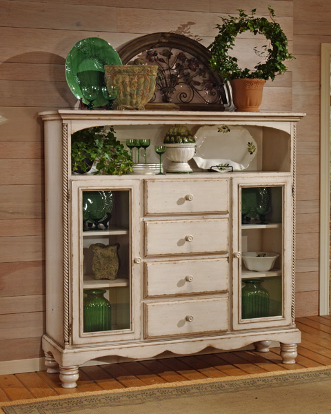 Wilshire four drawer baker 39 s cabinet antique white finish for Antique white usa kitchen cabinets
