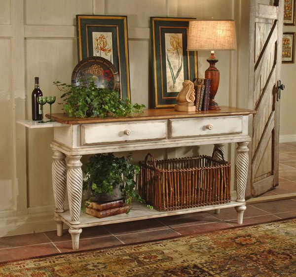 Wilshire Sideboard Table (Pine & Antique White Finish