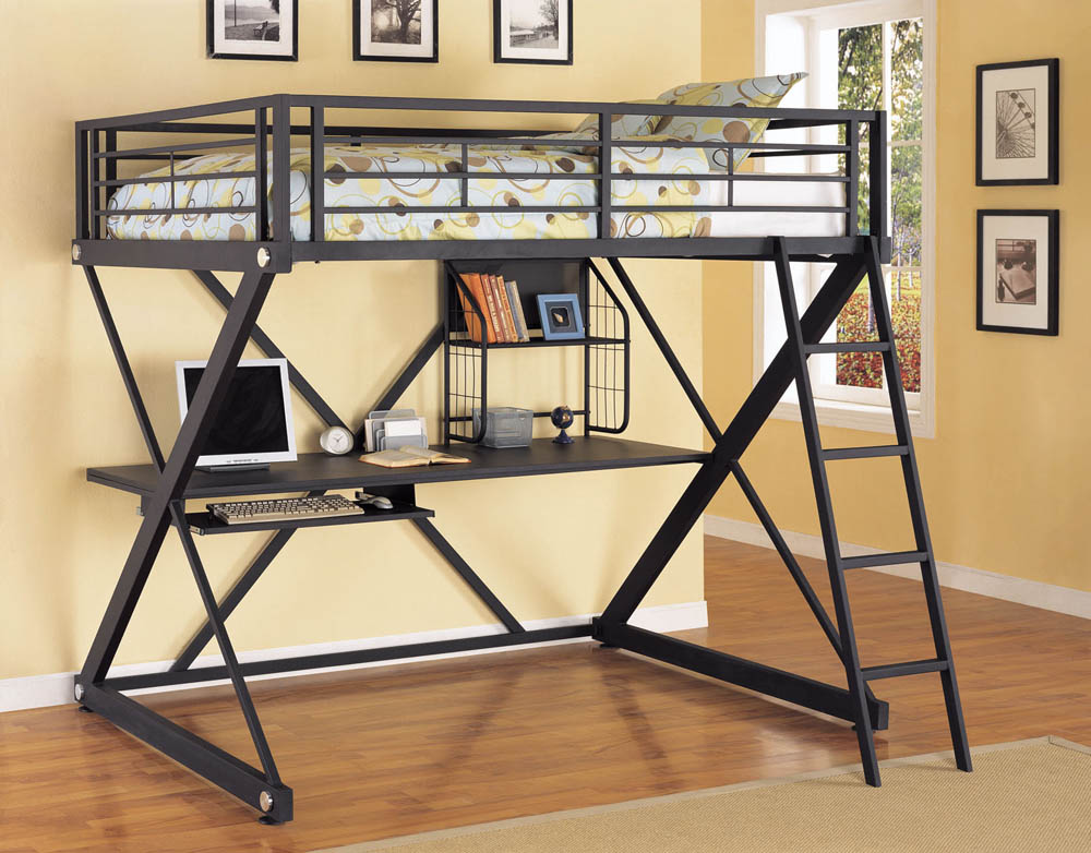 Z Bedroom Full Size Study Loft Bunk Bed Brushed Chrome