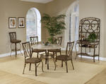 Brookside Round Dining Set with Diamond Back Chairs (Brown Powder Finish)