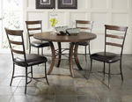Cameron Round Wood Base Dining Set with Ladder Back Chairs (Chestnut Brown Finish)
