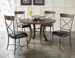 Cameron Round Wood Base Dining Set with X Back Chairs (Chestnut Brown Finish)