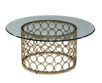 Carnaby Round Cocktail Table (Lux Gold & Gold Leaf)