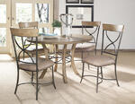 Charleston Round Metal Ring Dining Table with Wood Top (Desert Tan Finish) - [4670DTBW]