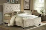 Kaylie Tufted Upholstered Bed in Buckwheat Microfiber Fabric