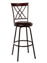 Northland Swivel Counter & Bar Stool with Nested Legs (Brown & Cherry Finished Top Rail with Brown Upholstery)