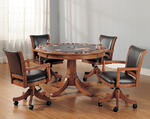 Park View Game Table Set (Medium Brown Oak Finish)