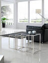 Quadra Nesting Tables - Set of 3 (Black & Stainless)