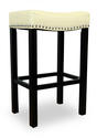 Tudor Barstool (Cream Bonded Leather & Chrome Nail)