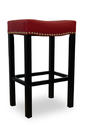Tudor Barstool (Red Bonded Leather & Chrome Nail)