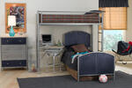 Universal Loft Bed & Study (Silver & Navy Finish)