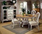 Wilshire Round Dining Set (Pine & Antique White Finish)