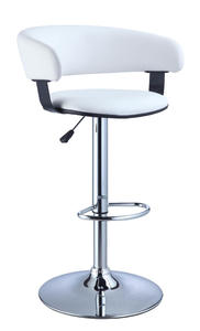 Adjustable Height Bar Stool (White Faux Leather Barrel & Chrome) - [211-915]