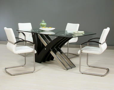 Akasha Dining Set (Stainless Steel & Wenge Veneer Finish)