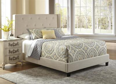 All-N-One Fully Upholstered Shelter Queen Bed (Stone) - [DS-1930-290]