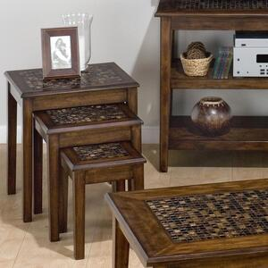 Baroque Brown 3-Piece Nesting Chairside Table - [698-7]