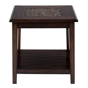 Baroque Brown Dark Brown Mosaic Inlay End Table - [698-3]