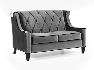 Barrister Loveseat (Gray Velvet With Black Piping) - [LC8442GRAY]