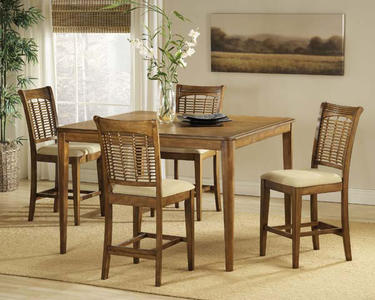 Bayberry Counter Height Dining Set (Oak Finish) - [4766DTBSG5]