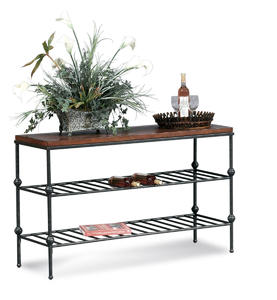 Bentley Console Table with Leather Inset (Tobacco & Pewter Finish) - [T1062-400]