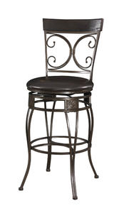 Big & Tall Back to Back Scroll Barstool (Black) - [938-851]