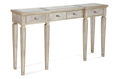 Borghese Mirrored Console Table with Drawers (Antique Mirror & Silver Leaf Finish) - [8311-472]