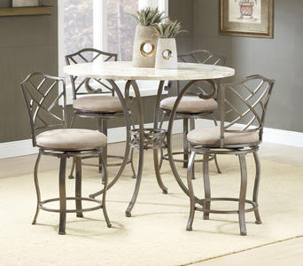 Brookside Counter Height Dining Set with Hanover Stools (Brown Powder Coat Finish)