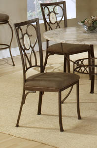 Brookside Oval Fossil Back Dining Chair - Set of 2 (Brown Powder Coat Finish) - [4815-802]